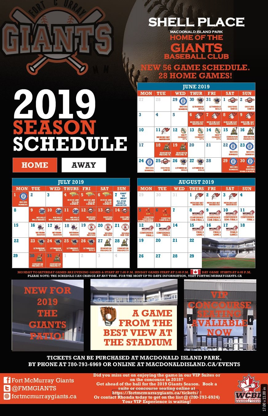 Fort Mcmurray Giants Baseball Schedule 2019
